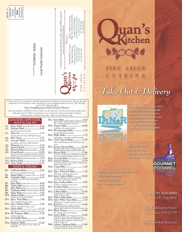 quans kitchen fine asian - hanover take out menu