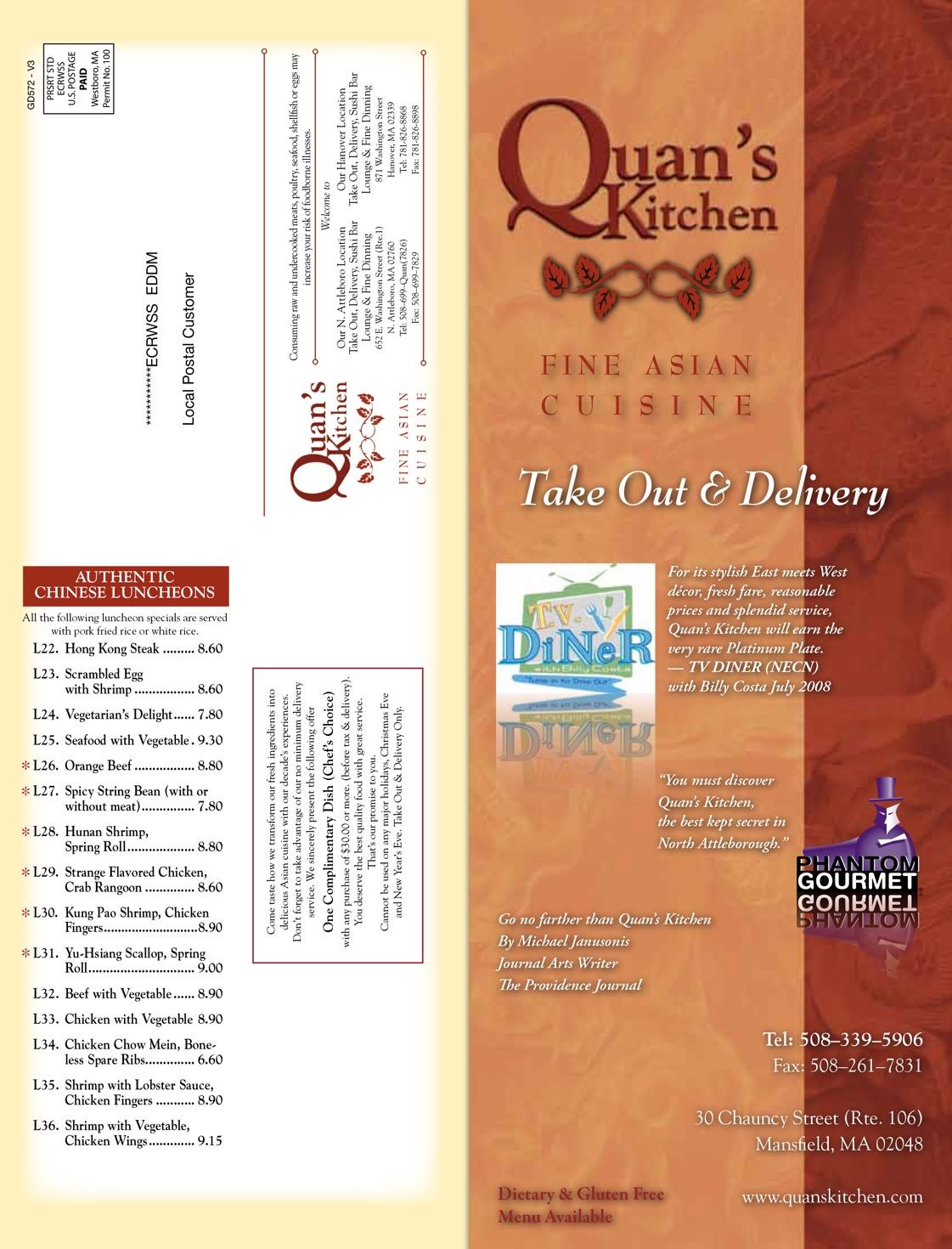 4 great locations fine asian cuisine - Quans Kitchen Menu