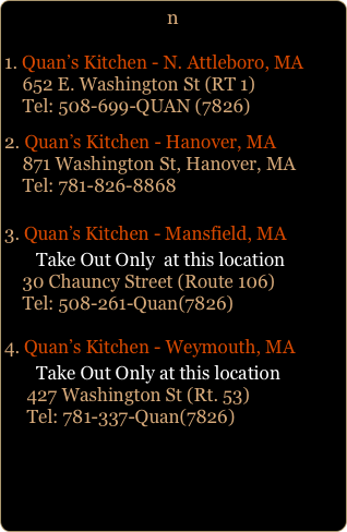 Quans Kitchen Fine Asian Food and Sushi Bar