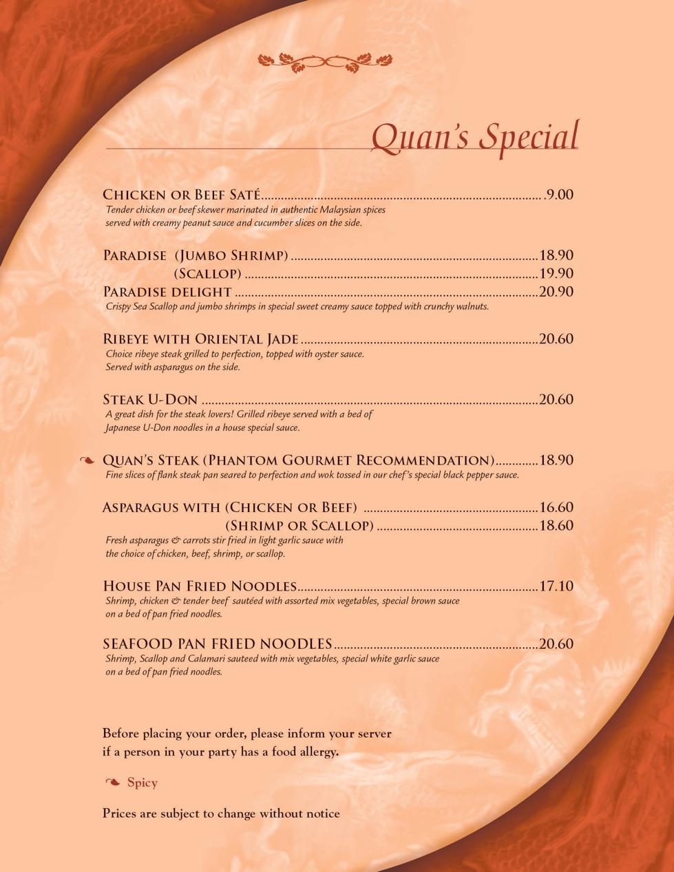 quans kitchen menu page 1 quans special